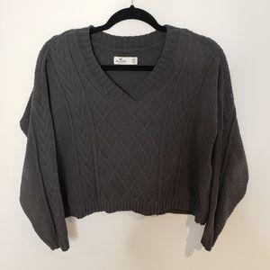 Hollister V Neck Grey Knit Crop Sweater